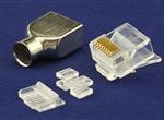 水晶头8P8CS短身(CAT6A)配1.1插芯(KB方孔)(带铜壳)
