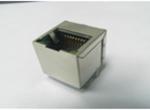 RJ45 1X1 8P8CS 50U 180度直插 无弹片 带LED 脚后3.89 4个磁环 左绿右黄