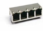 TAB-UP 1X4 8P8CS 6U 带弹片 带LED 4个磁环  后脚3.05 左黄右绿