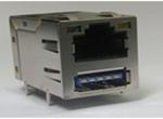 RJ45+单层USB3.0 6U 带弹片 带LED 4个磁环 左绿右黄