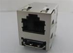 RJ45+HDMI 8P8CS 6U 带弹片 带LED 左黄右绿 4个磁环 直脚