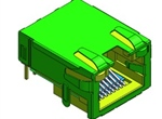 RJ45-S-LED开口型插座(带弹片) 通孔回流焊