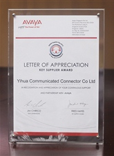 "Letter of thanks for AVAYA ""main supplier prize"" in 2015"